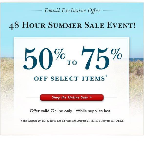 Shop 48 Hour Private Online Sale.