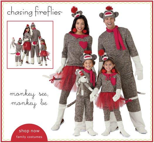 sock monkey family costumes