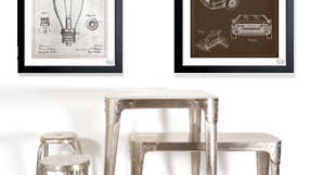 Vintage Blueprints and Furniture