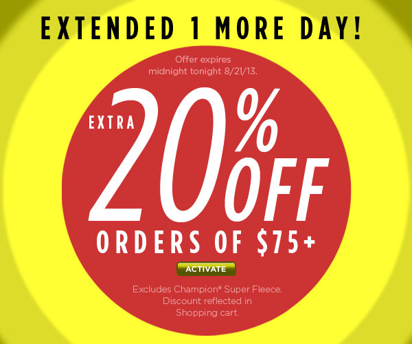 20% Off Your $75 Order Today