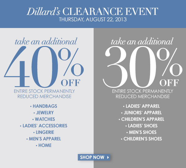 Dillards Clearance Event.