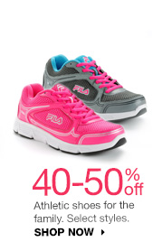 40-50% off Athletic shoes for the family. Select styles. SHOP NOW