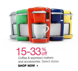 15-33% off Coffee & espresso makers and accessories. Select styles. SHOP NOW