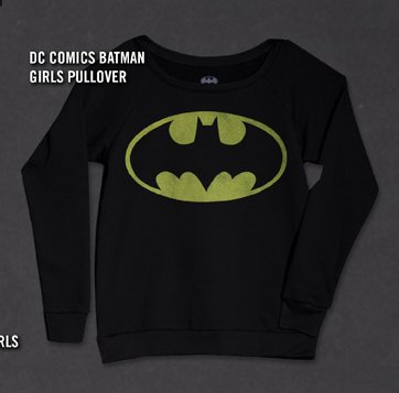 DC COMICS BATMAN GIRLS PULLOVER