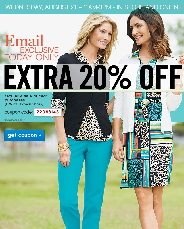 WEDNESDAY, AUGUST 21, 11AM-3PM Extra 20% off. Get coupon.