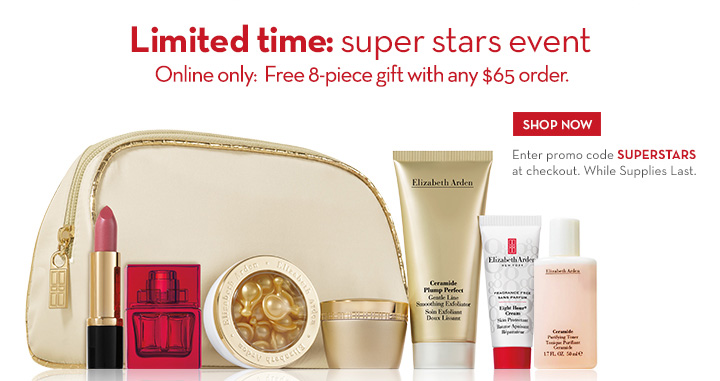 Limited time: super stars event. Online only: Free 8-piece gift with any $65 order. SHOP NOW. Enter promo code SUPERSTARS at checkout. While Supplies Last.