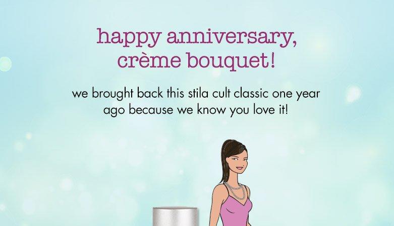 happy anniversary, creme bouquet!