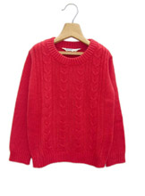 Beebay Solid Color Cable Patter Knitted Girl's Sweaters