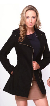 Kenneth Cole Wool Blend Belted Zipper Coat