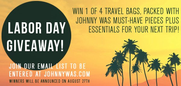 Labor Day Giveaway! johnnywas.com