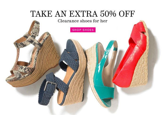 take an extra 50% off shop shoes