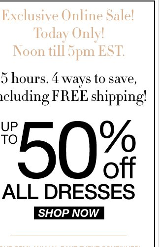 EXCLUSIVE online-only sale from 12-5pm EST. Hurry - Shop NOW!