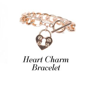 Gold Chain With Heart Charm Bracelet