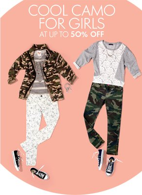 COOL CAMO FOR GIRLS AT UP TO 50% OFF
