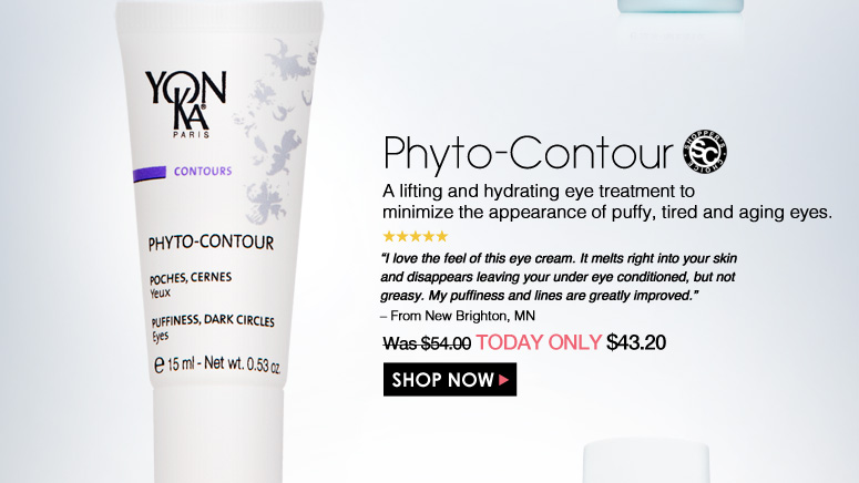 "Shopper's Choice. 5 Stars Phyto-Contour A lifting and hydrating eye treatment to minimize the appearance of puffy, tired and aging eyes. ""I love the feel of this eye cream. It melts right into your skin and disappears leaving your under eye conditioned, but not greasy. My puffiness and lines are greatly improved."" – From New Brighton, MN Was $54.00 Now $43.20 Shop Now>>"