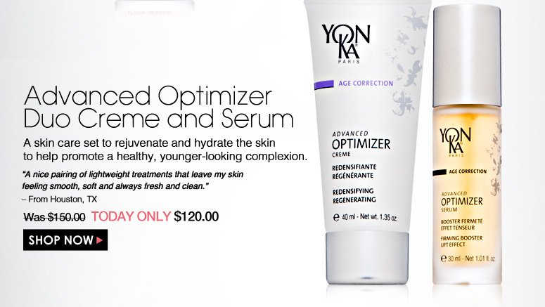 "Advanced Optimizer Duo Creme and Serum  A skin care set to rejuvenate and hydrate the skin to help promote a healthy, younger-looking complexion. ""A nice pairing of lightweight treatments that leave my skin feeling smooth, soft and always fresh and clean."" – From Houston, TX Was $150.00 Now $120.00 Shop Now>>"
