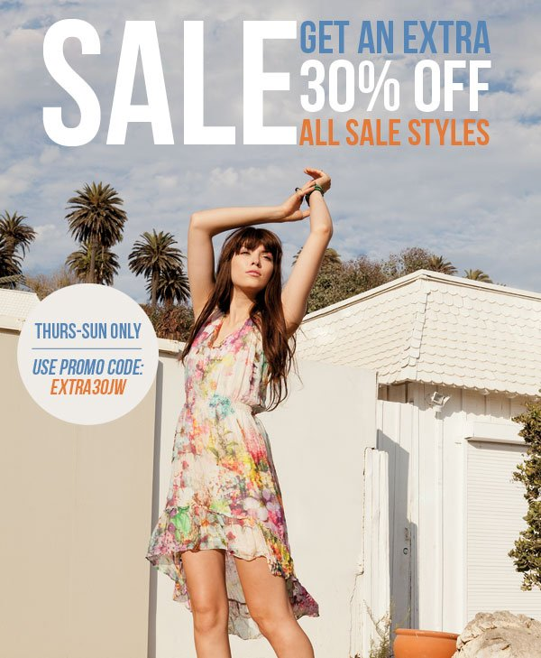 Get an extra 30% off sale styles!