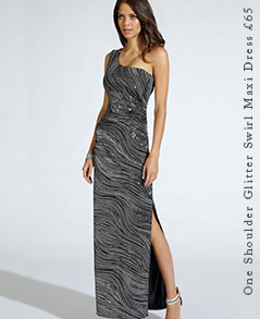 One Shoulder Glitter Swirl Maxi Dress