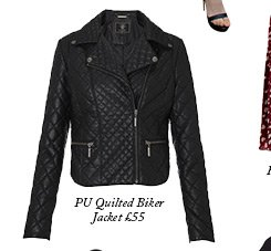 Pu Quilted Biker Jacket