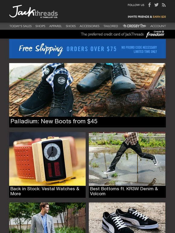 ed4c4f4768 Jack Threads: Palladium: New Boots from $45 | Back In Stock: Vestal Watches  | KR3W Denim & Volcom: Best Bottoms | FREE Shipping | Milled