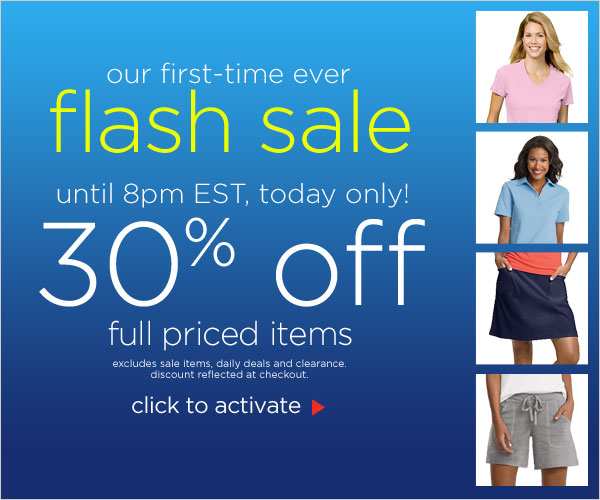 30% off full priced clothing items until 8pm EST