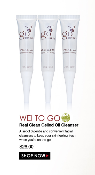 Parabne-free WEI to Go Real Clean Gelled Oil Cleanser A set of 3 gentle and convenient facial cleansers to keep your skin feeling fresh when you're on-the-go.   $26.00 Shop Now>>
