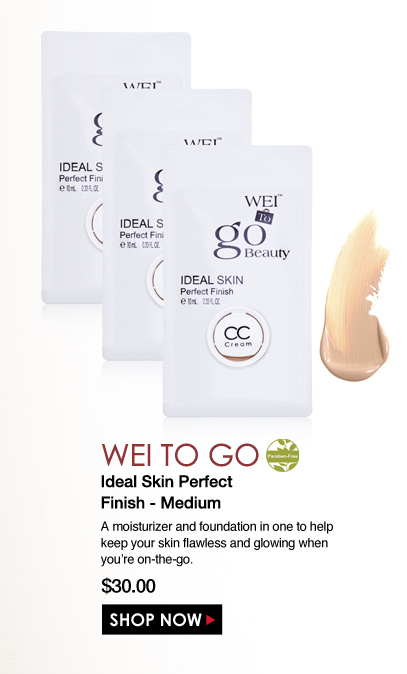 Paraben-free WEI to Go Ideal Skin Perfect Finish - Medium A moisturizer and foundation in one to help keep your skin flawless and glowing when you're on-the-go.  $30.00 Shop Now>>