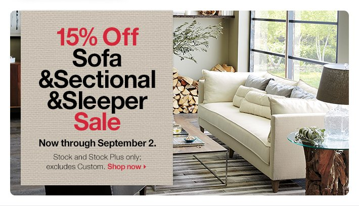 15% Off Sofa & Sectional & Sleeper Sale