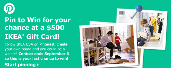Pin to Win for your chance at a $500 IKEA Gift Card!