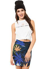 The Weed All Over High Waisted Skirt