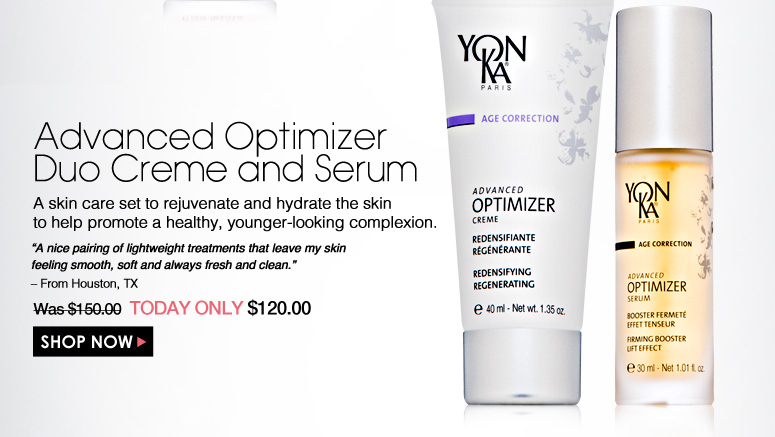"""Advanced Optimizer Duo Creme and Serum  A skin care set to rejuvenate and hydrate the skin to help promote a healthy, younger-looking complexion. """"A nice pairing of lightweight treatments that leave my skin feeling smooth, soft and always fresh and clean."""" – From Houston, TX Was $150.00 Now $120.00 Shop Now>>"""