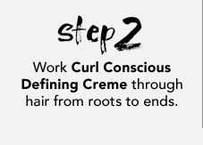 Work Curl Conscious Defining Creme through hair from roots to ends.