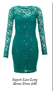 Sequin Lace Long Sleeve Dress