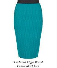 Textured High Waist Pencil Skirt