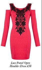 Lace Panel Open Shoulder Dress