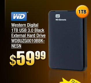 Western Digital 1TB USB 3.0 Black External Hard Drive WDBUZG0010BBK-NESN