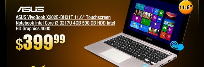 ASUS VivoBook X202E-DH31T 11.6 inch Touchscreen Notebook Intel Core i3 3217U 4GB 500 GB HDD Intel HD Graphics 4000