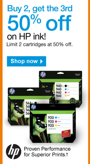 Buy 2,  get the 3rd 50% off on HP ink. Limit 2 cartridges at 50% off. Shop now.  HP. Proven Performance for Superior Prints.†