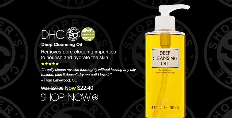 """5 Stars. Shopper's Choice. Paraben-free DHC Deep Cleansing Oil Removes pore-clogging impurities to nourish and hydrate the skin. """"It really cleans my skin thoroughly without leaving any oily residue, plus it doesn't dry me out! I love it!"""" – From Lakewood, CO Was $28.00 Now $22.40 Shop Now>>"""
