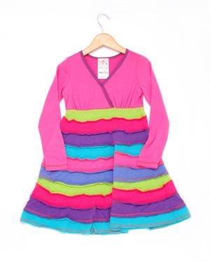 Me & Ko Girls' Striped Skirt Long Sleeve Dress - Made in USA