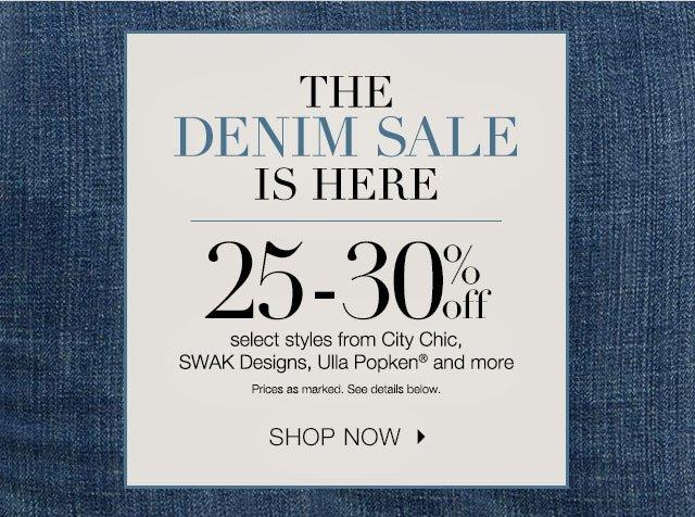 25-30% off select denim styles