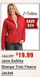 Jane Ashley Sherpa Trim Fleece Jacket
