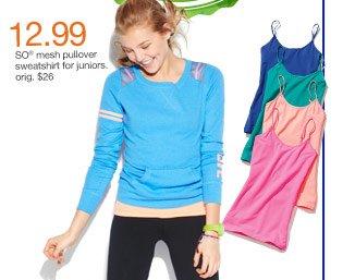 $12.99 SO mesh pullover sweatshirt for juniors. orig. $26