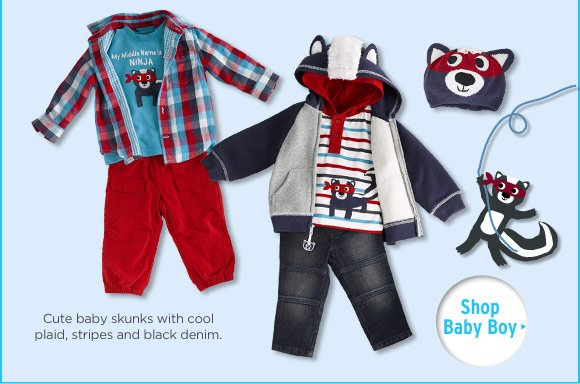 Cute baby skunks with cool plaid, stripes and black denim. Shop Baby Boy