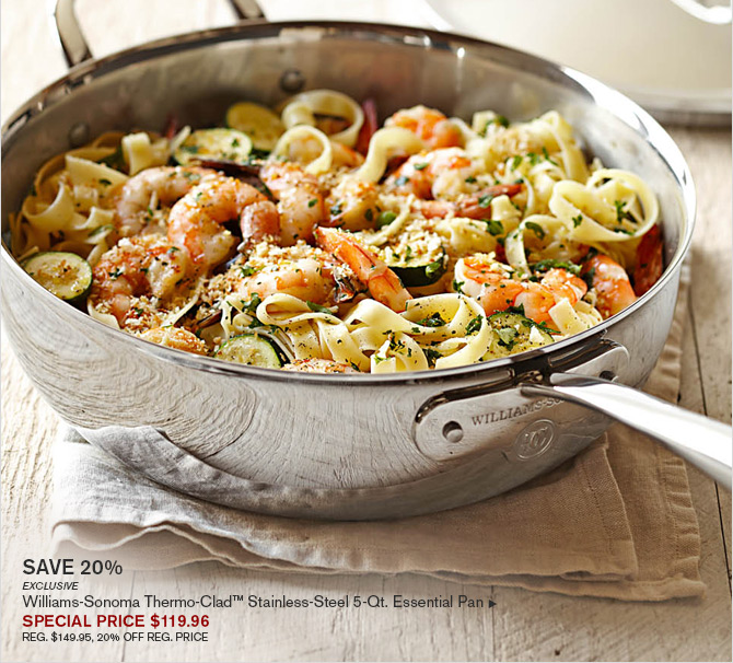 SAVE 20% - EXCLUSIVE - WILLIAMS-SONOMA THERMO-CLAD™ STAINLESS-STEEL 5-QT. ESSENTIAL PAN - SPECIAL PRICE $119.96 - REG. $149.95, 20% OFF REG. PRICE