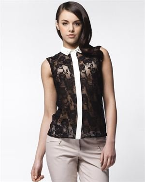 Awa Moda Sheer Lace Sequin Embellished Blouse Made In Europe
