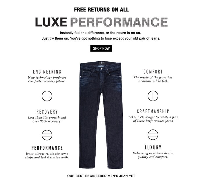 Free Returns on All Luxe Performance!
