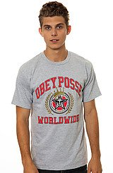 Obey Posse Worldwide Tee in Heather Grey