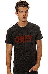 Obey Font Tee in Heather Onyx