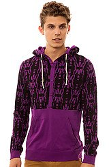 Volcom Inkat Hooded Henley in Vibrant Purple
